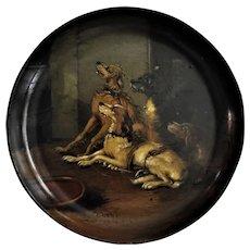 Antique  Papier Mache Bowl Hunting Dogs