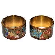 Antique Japanese Cloisonne Napkin Rings/Box