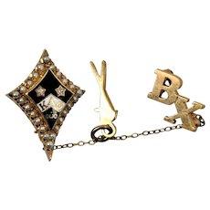 Kappa Fraternity Pin Diamonds Seed pearl 10K Gold  KAO   BX