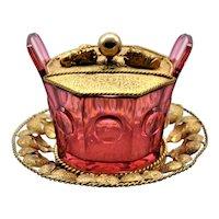 Antique Lion Cranberry Glass  Dish French