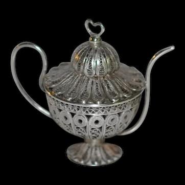 Antique Miniature Silver filigree  Dollhouse Teapot