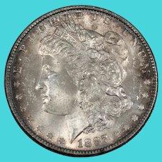 Antique American 1887 Morgan Silver Dollar in Case