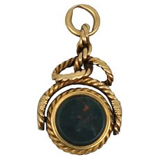 19th c Nautical Watch Fob 14 k Bloodstone Compass Rope Rare
