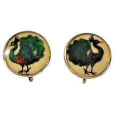Antique Peacock Bird Feather Earrings