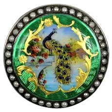 Swiss Peacock  Pocket Watch Guilloche Enamel Seed Pearls  19th c