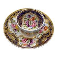 Antique English Ridgeways Hand-Painted Floral Cup & Saucer c 1810