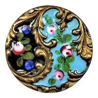 19th C French Enamel Button Roses