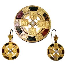 Rare Victorian Scottish Celtic 14 kt Gold Gemstone Earrings Brooch/ Pendant