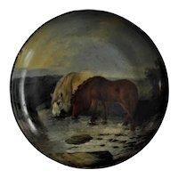 Shetland Ponies Papier Mache Bowl 19th century Scottish