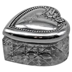 Antique Sterling Crystal Heart Box