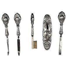 Art Nouveau Silver Manicure, Vanity Set Flamingos