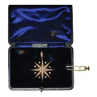 Antique Rose Gold Diamond Pearl Star Pendant/Brooch Hairpin in Box