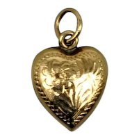 Vintage 10k tiny Gold Heart Pendant for Doll or Child