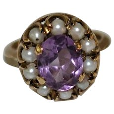 19th century Amethyst Pearl Ring