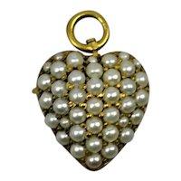 19th c Pocket Watch Pin Pearls Gold Pendant/Brooch