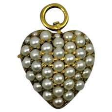19th c Pocket Watch Pin Pearls Gold Pendant/Brooch