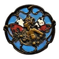 Art Nouveau French Champleve Enamel Button Winged Woman Signed