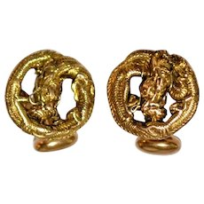Antique 14 kt Embossed  Gold Dragon Cufflinks