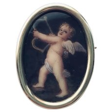 18k Limoges Enamel pin of Cupid