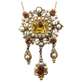 18K YG Georgian Cannetille Citrine and Pearl Necklace