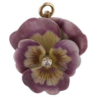 14K Art Nouveau  Riker Pink Enamel Flower w Diamond Center