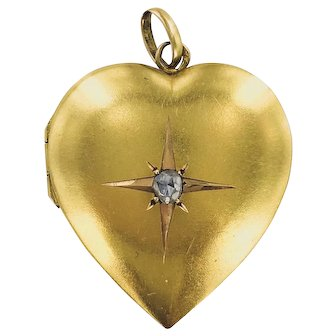 14K Victorian Heart Locket with Diamond Centre