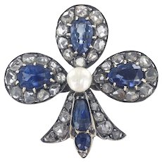 18K & Silver French Victorian Natural Sapphire &  Diamond Club Brooch