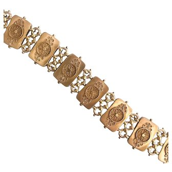 14K Etruscan Granulated Decorated  Rectangle Link Victorian Bracelet
