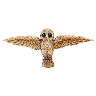 18K Georgian Realistic Owl Brooch with Sapphire Eyes