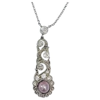 18 ct Art Deco Diamond and Pearl Lavaliere  Necklace