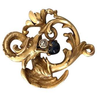 Victorian 14k dragon brooch