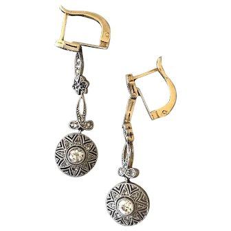 Platinum top 18k Edwardian Dangle Earrings