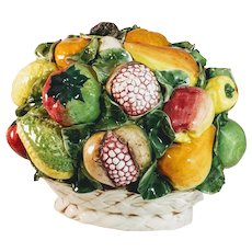 Vintage Intrada Italian Fruit Ceramic Vegetable Italy Centerpiece Oversize Majolica Basket Pottery Large Bowl