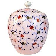 Vintage Floral Ginger Jar Lid Finial Flowers Handpainted Pink Asian