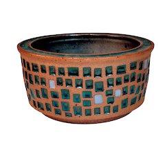 Vintage Roger Corsaw Studio Pottery Green Tile Planter Bowl Oklahoma Potter Mid Century