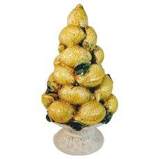 Vintage Lemon Tree Italy Topiary Urn Italian Majolica Fruit Pottery Porcelain