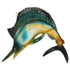 Vintage Fiberglass Swordfish Sailfish Ocean Fish Retro Plastic Wall Sculpture Art Hanging