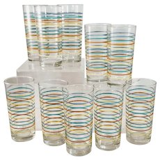Vintage Striped Glasses Barware Highballs Tea Bar Mid Century Rainbow Set 10
