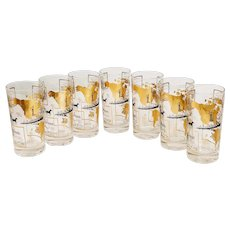 Vintage Glasses Barware Cocktail Kitchen America North South Exports New Orleans NOLA Maps Black Gold