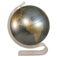 Vintage Globe Replogle Diamond Marquise Lucite Mid Century 1970's World Modern Map Retro