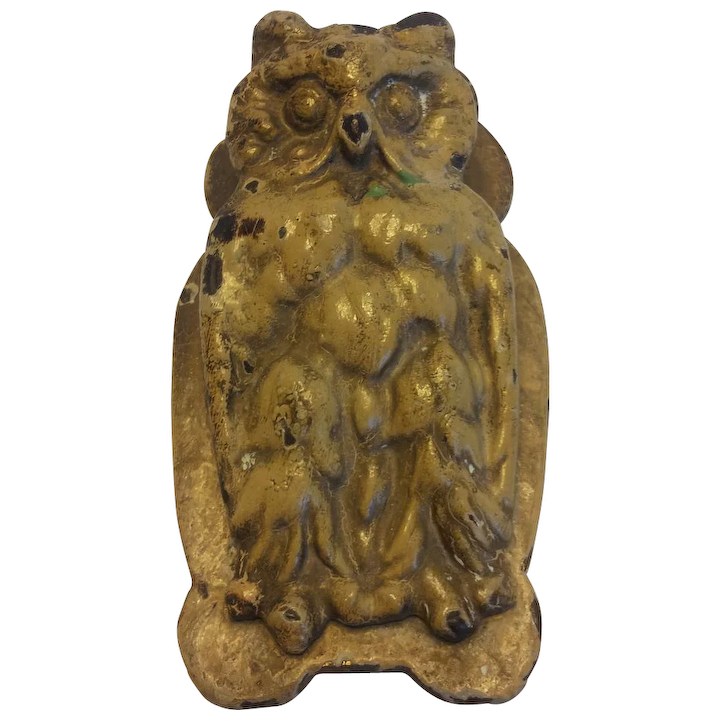 Merveilleux Vintage Cast Iron Owl Door Knocker Desk Clip Bird Doorknocker Painted :  Allieu0027s Antiques | Ruby Lane