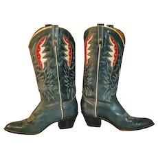 Vintage Boots Cowgirl Western Red White Blue Acme Patriotic USA Boot Cowboy Western Wear