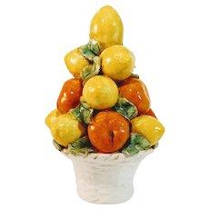 Vintage Orange Tree Italy Topiary Urn Italian Majolica Fruit Pottery Porcelain