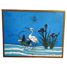 Vintage Cloisonne Heron Crane Plaque Iris Hanging Wall Art Japan China Enamel Bird