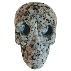 Vintage Stone Skull Carved Marble Granite Human Halloween