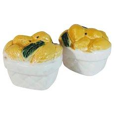 Vintage Lemon Salt Pepper Shaker Baskets Japan Majolica