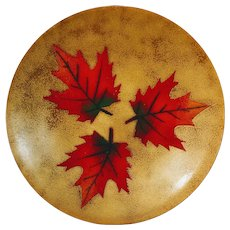 Vintage Enamel Leaf Copper Plate Maple Gagnon Signed Canada Canadian Fall Foliage