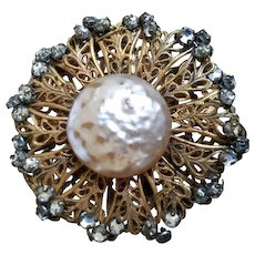 Vintage Miriam Haskell Baroque Glass Pearl Pin Brooch Signed Gold Tone Filigree
