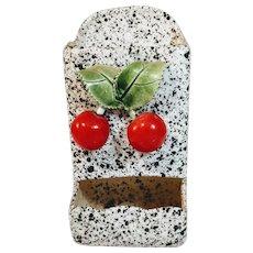 Vintage Cherry Match Holder Wall Splatterware Porcelain Majolica