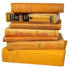 Vintage Yellow Book Stack Fall Bookshelf Decor Library Halloween Spring